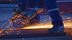 Worker cutting the metal Stock Footage