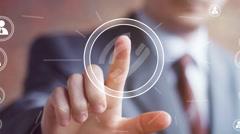 Businessman hand press telephone web button icon Stock Footage
