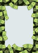 Stock Illustration of Frame out of money. Many dollars flying. Space for text. Cash green backgroun