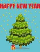 Stock Illustration of Christmas tree out of money. Happy new year. Snowfall of coins. Dollars on  t