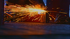 Stock Video Footage of Worker cutting the metal