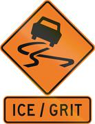 Road sign assembly in New Zealand - Ice, Grit Stock Illustration