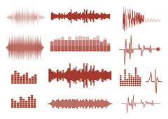 Vector sound waves set. Audio equalizer technology, pulse musical. Vector ill - stock illustration