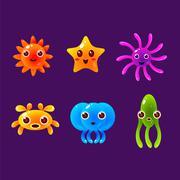 Cartoon Sea Animals, Marine Life Colorful Vector Illustration Stock Illustration