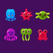 Cartoon Sea Animals, Marine Life Colorful Vector Illustration Stock Illustration