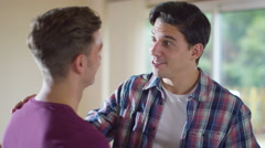 4K Attractive young gay couple share a kiss as they're chatting at home - stock footage