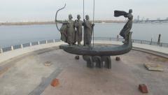 Monument to legendary founders of Kiev: Kiy, Schek, Khoryv and Lybid, Kiev - stock footage