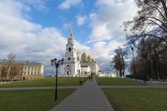 Uspensky Cathedral - UNESCO World Heritage Site. Golden Ring of Russia travel - stock photo