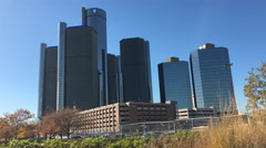 4K UltraHD View of the Renaissance Center in Detroit Stock Footage
