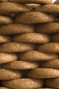 pile of sesame rings - stock photo