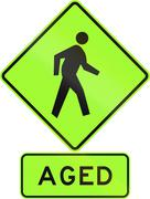 Road sign assembly in New Zealand - Aged pedestrians, fluorescent version Stock Illustration
