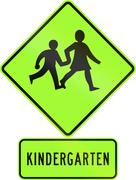 Road sign assembly in New Zealand - Kindergarten children, fluorescent versio - stock illustration