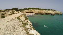Aerial Footage Praia de Albandeira - Caramujeira, Lagoa, Algarve, Portugal Stock Footage