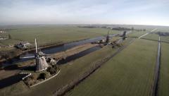 Windmill Dutch 17th century Stompwijk 4k Drone.mp4 Stock Footage