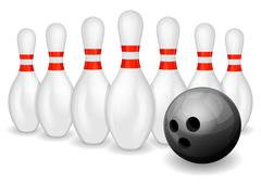 Stock Illustration of Bowling ball and pins