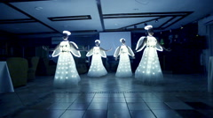 The girls at the wedding dressed as angels. Stock Footage
