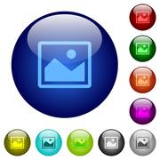 Color image glass buttons - stock illustration