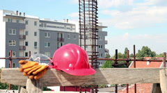 Personal Protective Equipment on the Construction Site Stock Footage
