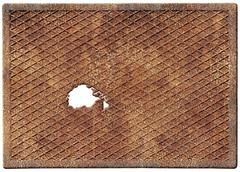 Old rusty metal plate with a hole isolated on white - stock illustration