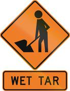 Road sign assembly in New Zealand - Wet tar - stock illustration