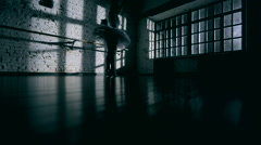 Graceful girl practicing ballet in the Studio Stock Footage