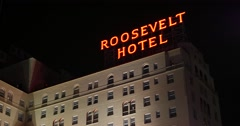 Hollywood Roosevelt Hotel Exterior Front Facade At Night 2 - 4K Stock Footage