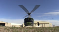 Huey Helicopter On Ramp Running Engine Stock Footage
