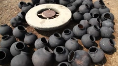 Pots Manufacturing at rural area Stock Footage