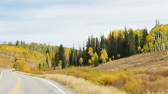 POV-Driving curving two-lane mountain road beautiful fall colors - stock footage