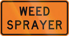 New Zealand road sign - Weed sprayer - stock illustration