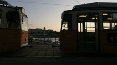 A tram stop in the evening Stock Footage