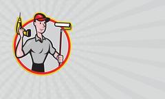 Business card House Painter Paint Roller Handyman Cartoon - stock illustration