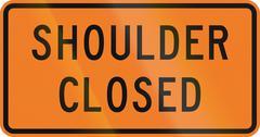 New Zealand road sign - Road shoulder closed - stock illustration