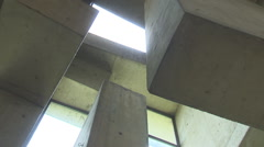 Ceiling of church made of concrete (Wotruba-Kirche, Vienna) Stock Footage