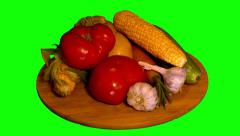 4k – Fresh garden vegetables on wooden board 01 Stock Footage