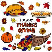 Thanksgiving day dinner set Stock Illustration