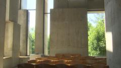 Concrete ceiling and audience room in church (Wotruba-Kirche, Vienna) Stock Footage