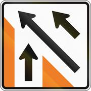 New Zealand road sign - Merging traffic (sign for minor road) - stock illustration