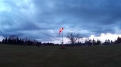 County Airport Illuminated Wind Sock Stock Footage