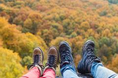 Unrecognizable couple in autumn nature - stock photo