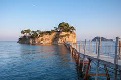 Bridge to Cameo Island at sunset, Zakynthos, Greece - stock photo