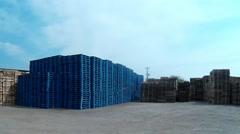 Construction Yard Chep Pallets Stock Footage