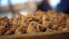 pork cracklings close up 4K - stock footage