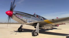 P-51 Mustang Betty Jane Engine Running Stock Footage