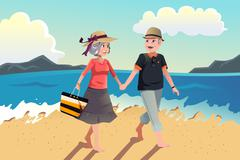Senior couple walking on the beach - stock illustration