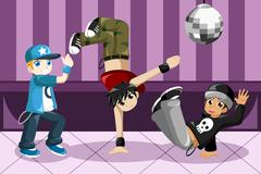 Kids dancing hip hop Stock Illustration