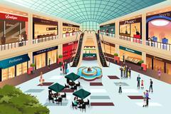 Scene inside shopping mall Stock Illustration