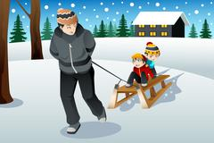 Father pulling his sons riding on a sled - stock illustration