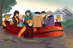 Rescue team helping people during flooding - stock illustration
