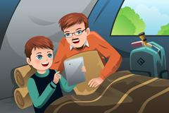 Father and son reading a tablet PC in a camping tent Stock Illustration